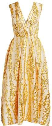Monique Lhuillier Mimosa Jacquard Midi Dress