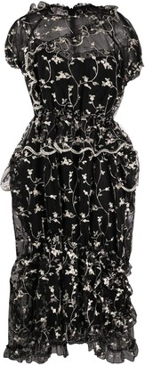 Simone Rocha Ruffle Trim Floral Embroidered Dress