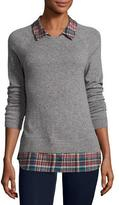 Joie Cashmere Zaan Twofer Sweater, Gray/Deep Marine