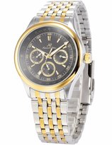 K&S KS KS213 Men's Automatic Mechanical Date Day Gold Silver Stainless Steel Band Wrist Watch