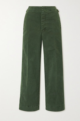 Mother The Cinch Greaser Cropped Cotton-blend Wide-leg Pants - Green