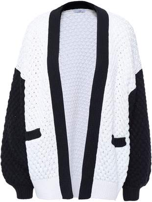 Co Two-tone Silk And Cotton-blend Cardigan
