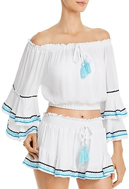 Surf.Gypsy Off-the-Shoulder Cropped Top Swim Cover-Up
