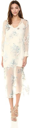 ASTR the Label Women's Riley Long Sleeve Sheer Illusion Hem V Neck Maxi Dress