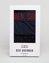 Ben Sherman Gift Box Navy Trunk and Spot Sock Set