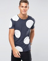 Selected Plus T-shirt with Crew Neck and Large Dot Print
