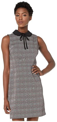 CeCe Sleeveless Menswear Plaid Collared Dress (Rich Black) Women's Dress