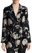 Haute Hippie Bond Floral Velour Blazer, Solitaire Burnout