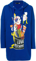 Love Moschino oversized logo hoodie - women - Cotton/Polyester - 38