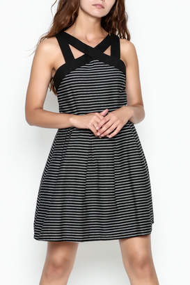 She + Sky Striped Fit Flare Dress