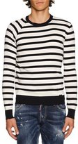 DSQUARED2 Striped Crewneck Sweater, Navy/White