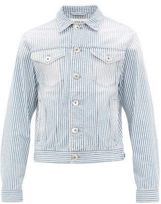 Lanvin Faded Striped Denim Jacket - Mens - Blue