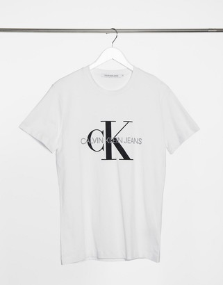 Calvin Klein Jeans iconic monogram slim t-shirt in white