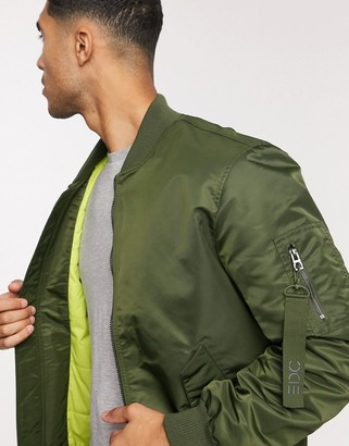 Esprit bomber in khaki with neon lining