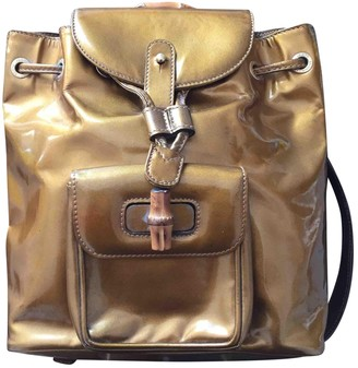 Gucci Bamboo Gold Patent leather Backpacks
