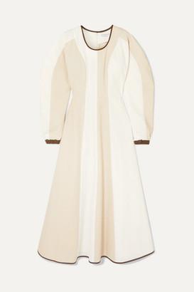 REJINA PYO Maren Faux Leather-trimmed Herringbone Cotton Maxi Dress - Off-white