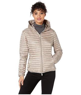 Save The Duck Hooded Basic Jacket (Pearl Grey) Women's Clothing