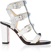 Christian Louboutin Women's Rocknbuckle Cage Sandals-WHITE, BLUE, SILVER, NO COLOR