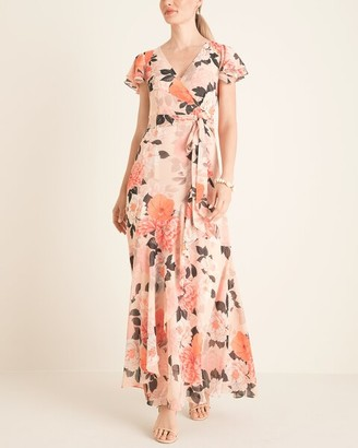 Eliza J Floral Faux-Wrap Maxi Dress