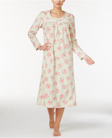 Charter Club Fleece Lace-Trimmed Printed Long Nightgown, Only at Macy's