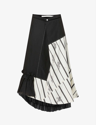 Renli Su Stripe-print high-waisted cotton-blend midi skirt