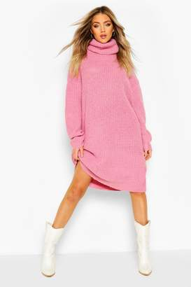 boohoo Oversized Rib Knit Boyfriend Jumper Dress