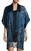 Josie Natori Embroidered Silk Cardigan