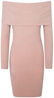Haris Cotton Off Shoulders Viscose Blend Slim Fit Dress Pink