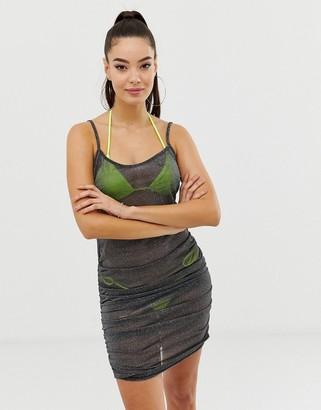 Asos Design DESIGN silver jersey mesh bodycon beach dress