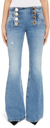 Balmain Button Front Flare Jeans
