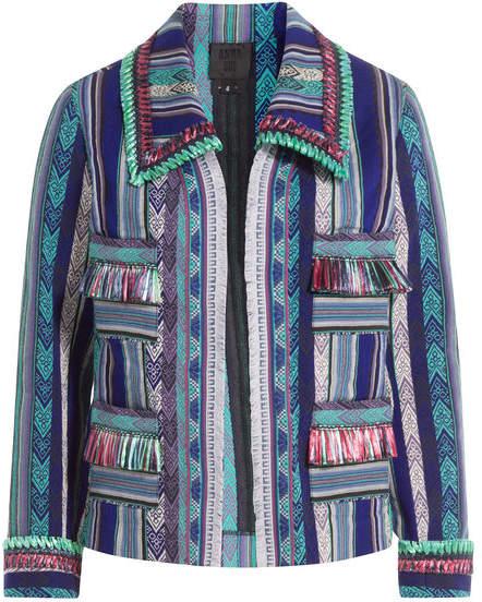 Anna Sui Serape Striped Jacket with Fringe