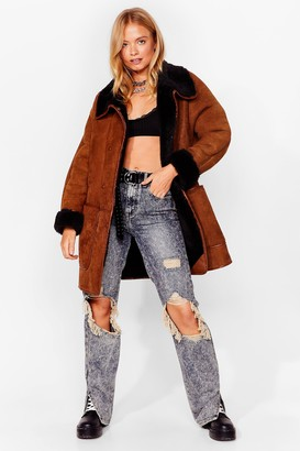 Nasty Gal Womens Are Your Faux Fur Real Oversized Coat - Brown