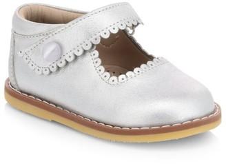 Elephantito Baby Girl's Scallop Leather Mary Jane Flats