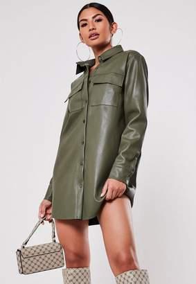 Missguided Khaki Faux Leather Oversized Shirt Dress