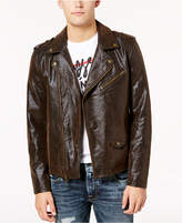GUESS Men's Keene Faux-Leather Moto Jacket
