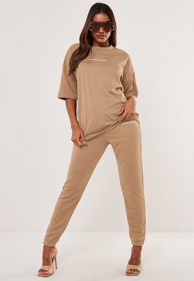 Missguided Camel T Shirt And Joggers Co Ord Set