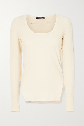 Bassike Net Sustain Ribbed Stretch-cotton Top