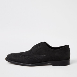 River Island Black distressed leather derby brogues