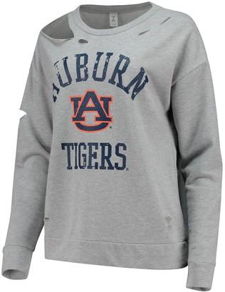 Women's ZooZatz Heathered Gray Auburn Tigers Ripped Pullover Sweatshirt