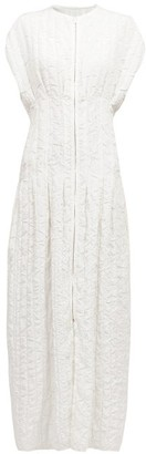 The Row Tamy Textured Raw-edge Zip-through Midi Dress - Ivory