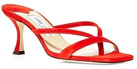 Jimmy Choo Women's Maelie 70 Mid Heel Square Toe Thong Sandals