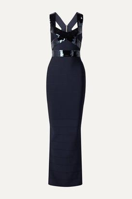 Herve Leger Sequin-embellished Bandage Gown - Navy