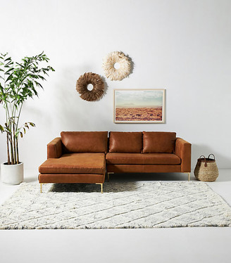 Anthropologie Edlyn Petite Leather Sectional By in Assorted Size 101 in