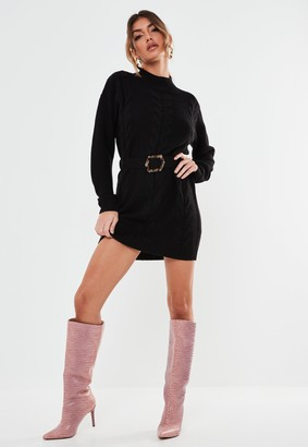 Missguided Black Belted Cable Knit Dress