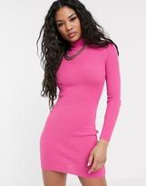 Asos Design DESIGN one sleeve high neck rib knit mini dress