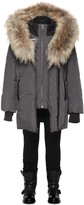 Mackage Leelee Charcoal Winter Down Coat With Fur Hood (8-14 Yrs)