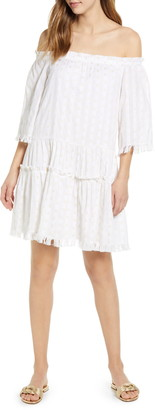 Vineyard Vines Metallic Print Off the Shoulder Drop Waist Cotton Blend Dress