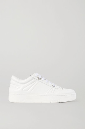 Jimmy Choo Hawaii Crystal-embellished Perforated Leather Sneakers - White