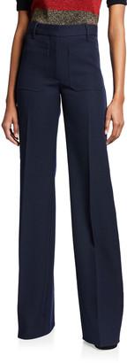 Victoria Beckham High-Waist Patch Pocket Wool Trousers