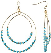 Cara Accessories Turquoise Beaded Double Hoop Dangle Earrings
